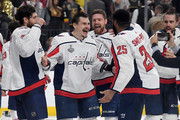 Alex Chiasson #39 and Devante Smith-Pelly #25 of the Washington Capitals celebrate their 4-3 win over the Vegas Golden Knights to win the Stanley Cup in Game Five of the 2018 NHL Stanley Cup Final at T-Mobile Arena on June 7, 2018 in Las Vegas, Nevada.