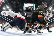 David Perron #57 of the Vegas Golden Knights scores a goal past Braden Holtby #70 of the Washington Capitals dsecond period in Game Five of the 2018 NHL Stanley Cup Final at T-Mobile Arena on June 7, 2018 in Las Vegas, Nevada.