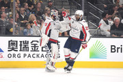 Devante Smith-Pelly #25 of the Washington Capitals is congratulated by his teammate Braden Holtby #70 after scoring a third-period goal against the Vegas Golden Knights in Game Five of the 2018 NHL Stanley Cup Final at T-Mobile Arena on June 7, 2018 in Las Vegas, Nevada.