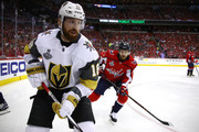 James Neal #18 of the Vegas Golden Knights skates against the Washington Capitals during the first period in Game Four of the 2018 NHL Stanley Cup Final at Capital One Arena on June 4, 2018 in Washington, DC.
