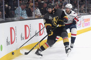 Colin Miller #6 of the Vegas Golden Knights battles for the puck with Lars Eller #20 of the Washington Capitals in Game One of the 2018 NHL Stanley Cup Final at T-Mobile Arena on May 28, 2018 in Las Vegas, Nevada.