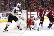 Braden Holtby #70 of the Washington Capitals stops a shot from Alex Tuch #89 of the Vegas Golden Knights during the third period in Game Three of the 2018 NHL Stanley Cup Final at Capital One Arena on June 2, 2018 in Washington, DC.