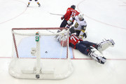 Braden Holtby #70 of the Washington Capitals tends the goal against Tomas Nosek #92 of the Vegas Golden Knights in Game Three of the 2018 NHL Stanley Cup Final at Capital One Arena on June 2, 2018 in Washington, DC.