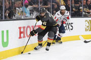 Pierre-Edouard Bellemare #41 of the Vegas Golden Knights skates against Alex Ovechkin #8 of the Washington Capitals in Game Two of the 2018 NHL Stanley Cup Final at T-Mobile Arena on May 30, 2018 in Las Vegas, Nevada.