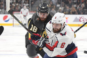 Michal Kempny #6 of the Washington Capitals is defended by James Neal #18 of the Vegas Golden Knights during the first period in Game Two of the 2018 NHL Stanley Cup Final at T-Mobile Arena on May 30, 2018 in Las Vegas, Nevada.