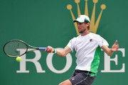 Andreas Seppi of Italy returns a shot to  Kyle Edmund of Great Britain during the Second Round match  of Men's Single match in 2018 Rolex Shanghai Masters at Qi Zhong Tennis Centre on October 10, 2018 in Shanghai, China.