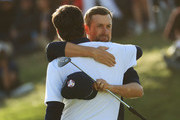 Webb Simpson of the United States and Bubba Watson of the United States celebrate victory during the afternoon foursome matches of the 2018 Ryder Cup at Le Golf National on September 29, 2018 in Paris, France.