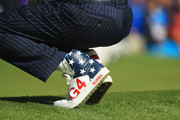 A detailed view of the shoes of Bubba Watson of the United States  during the afternoon foursome matches of the 2018 Ryder Cup at Le Golf National on September 29, 2018 in Paris, France.