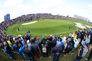 Henrik Stenson chips onto the 14th green during the afternoon foursome matches of the 2018 Ryder Cup at Le Golf National on September 28, 2018 in Paris, France.