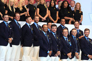 The United States team look on during the opening ceremony for the 2018 Ryder Cup at Le Golf National on September 27, 2018 in Paris, France.