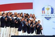 Members of the united states team (Back L-R) Patrick Reed, Phil Mickelson, Brooks Koepka, Dustin Johnson, Rickie Fowler, Tony Finau, Bryson DeChambeau, (Front L-R) Tiger Woods, Bubba Watson, Justin Thomas, Jordan Spieth and Webb Simpson attend the opening ceremony for the 2018 Ryder Cup at Le Golf National on September 27, 2018 in Paris, France.