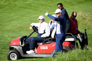 Alex Noren of Europe stands alongside vice-Captain Steve Stricker of the United States ahead of the 2018 Ryder Cup at Le Golf National on September 25, 2018 in Paris, France.