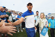 Henrik Stenson of Europe celebrates winning his match and winning The Ryder Cup during singles matches of the 2018 Ryder Cup at Le Golf National on September 30, 2018 in Paris, France.