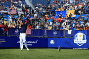 Bubba Watson of the United States plays his shot from the first tee  during singles matches of the 2018 Ryder Cup at Le Golf National on September 30, 2018 in Paris, France.