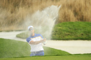 Henrik Stenson of Europe plays out of a bunker on the 17th during singles matches of the 2018 Ryder Cup at Le Golf National on September 30, 2018 in Paris, France.