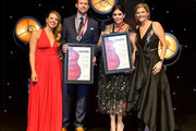 (L-R) SESAC's Lydia Schultz, Ryan Beuschel of W.B.M. Music Corp, Hillary Scott of Lady Antebellum, and SESAC VP of Creative Services Shannan Hatch onstage during the 2018 SESAC Nashville Music Awards at Country Music Hall of Fame and Museum on November 11, 2018 in Nashville, Tennessee.