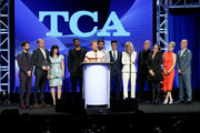 Darren Criss, Brad Simpson, Alexis Martin Woodall, Ricky Martin, Tom Rob Smith, Édgar Ramírez, Finn Wittrock, Judith Light, Ryan Murphy, Nina Jacobson, and Daniel Minahan attend the 34th Annual Television Critics Association Awards during the 2018 Summer TCA Tour at The Beverly Hilton Hotel on August 4, 2018 in Beverly Hills, California.