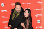 "Joel McHale and Camille Guaty attend the ""A Futile And Stupid Gesture"" Premiere during the 2018 Sundance Film Festival at Eccles Center Theatre on January 24, 2018 in Park City, Utah."