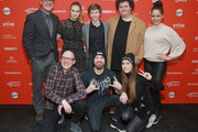 "(L-R Back) Actors Rich Sommer, Tiera Skovbye, Graham Verchere, Susie Castillo, Caleb Emery, (L-R Front) Directors Yoann-Karl Whissell, Francois Simard, and Anouk Whissell attend the ""Summer Of '84"" Premiere during the 2018 Sundance Film Festival at Park City Library on January 22, 2018 in Park City, Utah."