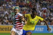 Julie Ertz #2 of the United States battles with Rayanne #23 of Brazil during the 2018 Tournament Of Nations at Toyota Park on August 2, 2018 in Bridgeview, Illinois. The United States defeated Brazil 4-1.