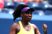 Venus Williams of the United States celebrates victory in her women's singles first round match against Svetlana Kuznetsova of Russia on Day One of the 2018 US Open at the USTA Billie Jean King National Tennis Center on August 27, 2017 in the Flushing neighborhood of the Queens borough of New York City.