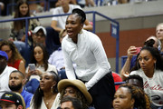 Venus Williams reacts during the Women's Singles finals match between Serena Williams of the United States and Naomi Osaka of Japan on Day Thirteen of the 2018 US Open at the USTA Billie Jean King National Tennis Center on September 8, 2018 in the Flushing neighborhood of the Queens borough of New York City.