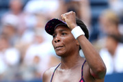 Venus Williams of the United States celebrates victory during her women's singles second round match against Camila Giorgi of Italy on Day Three of the 2018 US Open at the USTA Billie Jean King National Tennis Center on August 29, 2018 in the Flushing neighborhood of the Queens borough of New York City.