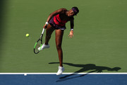 Venus Williams of the United States serves the ball during her women's singles second round match against Camila Giorgi of Italy on Day Three of the 2018 US Open at the USTA Billie Jean King National Tennis Center on August 29, 2018 in the Flushing neighborhood of the Queens borough of New York City.