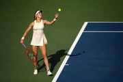 Eugenie Bouchard of Canada serves during her women's singles second round match against Marketa Vondrousova of Czech Republic on Day Four of the 2018 US Open at the USTA Billie Jean King National Tennis Center on August 30, 2018 in the Flushing neighborhood of the Queens borough of New York City.