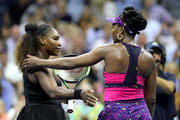 Serena Williams of The United States is congratulated by her sister and opponant Venus Williams of The United States following their ladies singles third round match on Day Five of the 2018 US Open at the USTA Billie Jean King National Tennis Center on August 31, 2018 in the Flushing neighborhood of the Queens borough of New York City.
