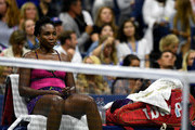 Venus Williams of the United States cools off during her women's singles third round match against Serena Williams of the United States on Day Five of the 2018 US Open at the USTA Billie Jean King National Tennis Center on August 31, 2018 in the Flushing neighborhood of the Queens borough of New York City.