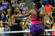 Serena Williams (L) of the United States is congratulated by her sister and opponant Venus Williams (R) of the United States following their ladies singles third round match on Day Five of the 2018 US Open at the USTA Billie Jean King National Tennis Center on August 31, 2018 in the Flushing neighborhood of the Queens borough of New York City.