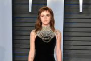 Emma Watson attends the 2018 Vanity Fair Oscar Party hosted by Radhika Jones at Wallis Annenberg Center for the Performing Arts on March 4, 2018 in Beverly Hills, California.