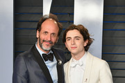 Luca Guadagnino (L) and Timothee Chalamet attend the 2018 Vanity Fair Oscar Party hosted by Radhika Jones at Wallis Annenberg Center for the Performing Arts on March 4, 2018 in Beverly Hills, California.