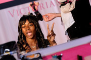 Zuri Tibby prepares backstage during the 2018 Victoria's Secret Fashion Show in New York at Pier 94 on November 8, 2018 in New York City.