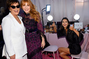 (L-R) Kris Jenner, Charlotte Tilbury, and Kendall Jenner pose backstage during the 2018 Victoria's Secret Fashion Show in New York at Pier 94 on November 8, 2018 in New York City.