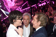 (L-R) Kris Jenner, Giancarlo Giammetti, and Valentino attend the 2018 Victoria's Secret Fashion Show in New York at Pier 94 on November 8, 2018 in New York City.