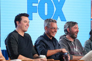 (L-R) Creator/executive producer Seth MacFarlane, executve producer/showrunner Rich Appel and executive producer/showrunner Alec Sulkin speak onstage during the FOX portion of the 2018 Winter Television Critics Association Press Tour at The Langham Huntington, Pasadena on January 4, 2018 in Pasadena, California.