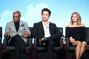 (L-R) Actors Nathan Lee Graham, Ed Weeks and Kim Matula of the television show LA To Vegas speak onstage during the FOX portion of the 2018 Winter Television Critics Association Press Tour at The Langham Huntington, Pasadena on January 4, 2018 in Pasadena, California.