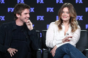 Actors Dan Stevens (L) and Rachel Keller of the television show LEGION speak onstage during the FOX/FX portion of the 2018 Winter Television Critics Association Press Tour at The Langham Huntington, Pasadena on January 5, 2018 in Pasadena, California.