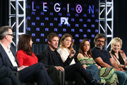 (L-R) Executive producer/director John Cameron, executive producer Lauren Shuler Donner, actors Dan Stevens, Rachel Keller, Aubrey Plaza, Jemaine Clement and Jean Smart speak onstage during the FOX/FX portion of the 2018 Winter Television Critics Association Press Tour at The Langham Huntington, Pasadena on January 5, 2018 in Pasadena, California.