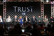 (L-R) Executive producer/writer/director Danny Boyle,  creator/executive producer/writer Simon Beaufoy, actors Donald Sutherland, Hilary Swank, Harris Dickinson, Michael Esper, Brendan Fraser, Anna Chancellor and Luca Marinelli of the television show TRUST speak onstage during the FOX/FX portion of the 2018 Winter Television Critics Association Press Tour at The Langham Huntington, Pasadena on January 5, 2018 in Pasadena, California.