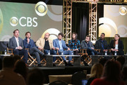 (L-R) Executive producer Patrick Walsh, executive producer Johnny Galecki, actors Ian Gomez, Lindsey Kraft, Jay R. Ferguson, David Krumholtz, Tony Rock and Camryn Manheim of the television show Living Biblically speak onstage during the CBS/Showtime portion of the 2018 Winter Television Critics Association Press Tour at The Langham Huntington, Pasadena on January 6, 2018 in Pasadena, California.