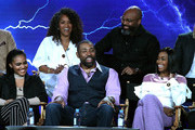 "(L-R, back) Executive Producers Mara Brock Akil, Salim Akil, (L-R, front) China Anne McClain, Cress Williams and Nafessa Williams of the television show ""Black Lightning"" speak on stage during the CW portion of the 2018 Winter Television Critics Association Press Tour at The Langham Huntington, Pasadena on January 7, 2018 in Pasadena, California."