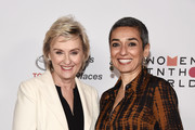 Journalist Tina Brown (L) and Women in the World Editor at Large Zainab Salbi arrive at the 2018 Women In The World Los Angeles Salon at NeueHouse Hollywood on February 13, 2018 in Los Angeles, California.
