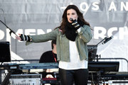 Singer/actor Idina Menzel performs onstage at 2018 Women's March Los Angeles at Pershing Square on January 20, 2018 in Los Angeles, California.