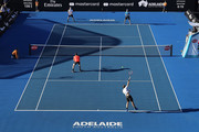 A general view of play during the match between Jamie Murray of Great Britain, Bruno Soares of Brazil and John Peers of Australia, Henri Kontinen of Finland during day one of the World Tennis Challenge at Memorial Drive on January 8, 2018 in Adelaide, Australia.