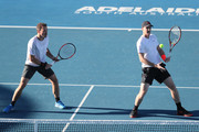 Bruno Soares of Brazil and Jamie Murray of Great Britain competes against Mike Bryan and Bob Bryan of the USA on day two of the 2018 World Tennis Challenge at Memorial Drive on January 9, 2018 in Adelaide, Australia.