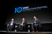 (L-R) Special Guests Andrew Jackson York, Gerald York, and TCM Host Dave Karger speak during 'Sergeant York' at the 2019 10th Annual TCM Classic Film Festival on April 11, 2019 in Hollywood, California.