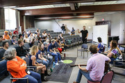 Producer Ross Copperman,Songwriter Joy Williams, Hillary Scott,Charles Kelley and Dave Haywood of Lady Antebellum join ACM Lifting Lives campers during ACM Lifting Lives Music Camp Songwriting Workshop on June 13, 2019 in Nashville, Tennessee.